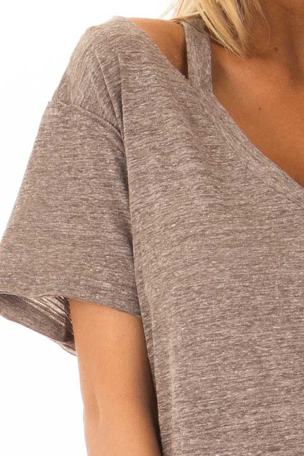 Cocoa Two Tone V Neckline Top with Cut Out Detail detail