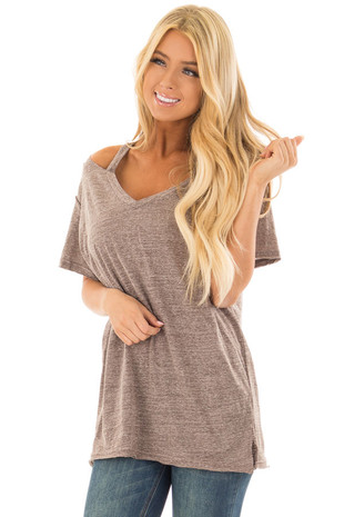 Cocoa Two Tone V Neckline Top with Cut Out Detail front close up