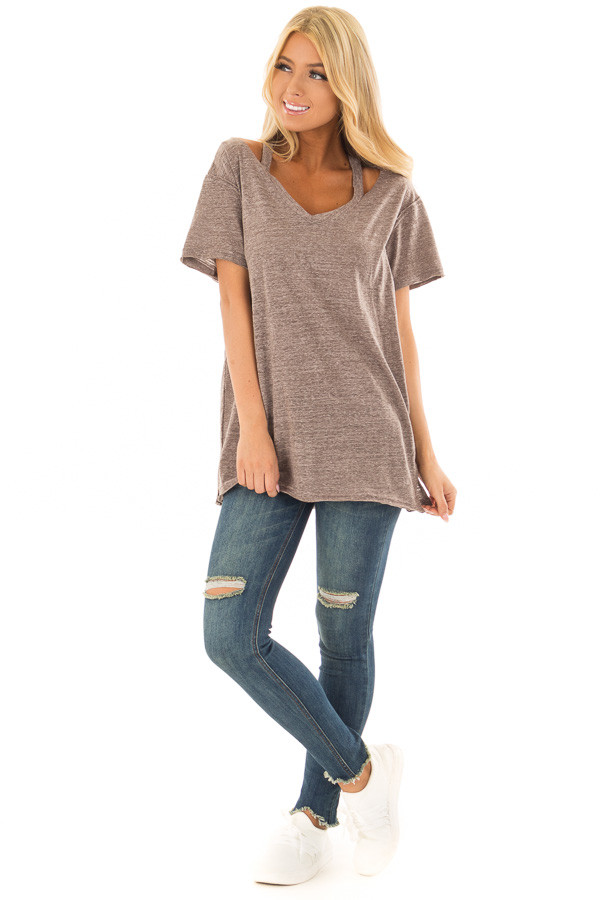 Cocoa Two Tone V Neckline Top with Cut Out Detail front full body
