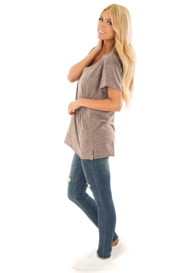 Cocoa Two Tone V Neckline Top with Cut Out Detail side full body