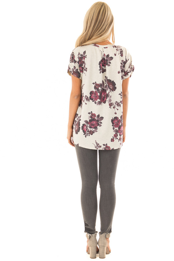 Oatmeal and Burgundy Floral Print Shirt with Breast Pocket back full body