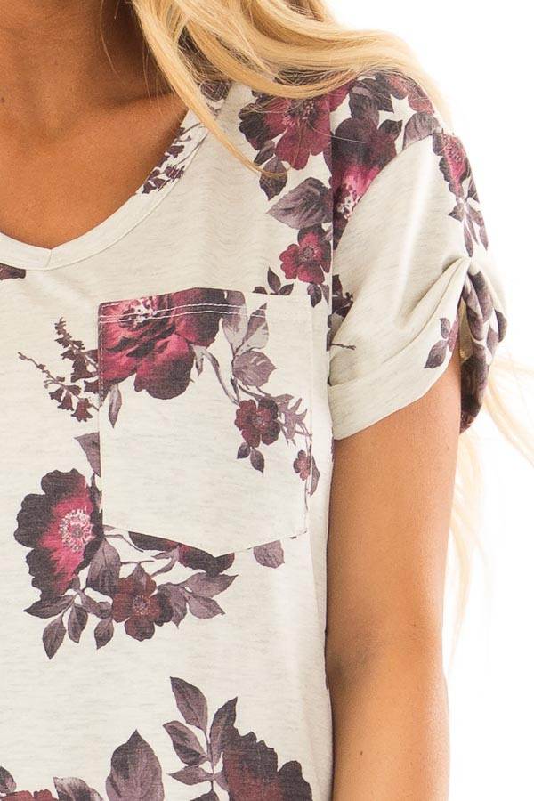 Oatmeal and Burgundy Floral Print Shirt with Breast Pocket detail