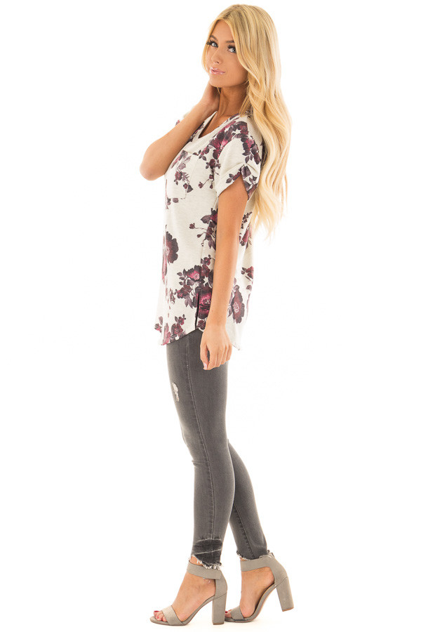 Oatmeal and Burgundy Floral Print Shirt with Breast Pocket side full body