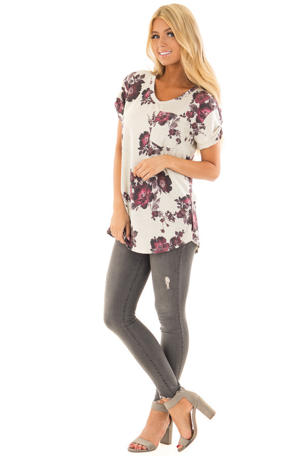 Oatmeal and Burgundy Floral Print Shirt with Breast Pocket front full body