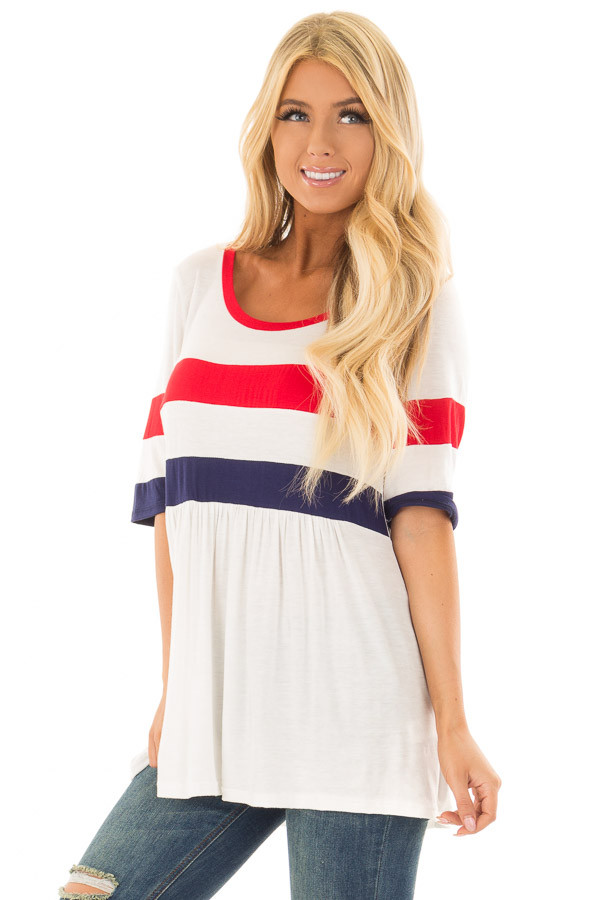Off White USA Striped Babydoll Tee Shirt front close up