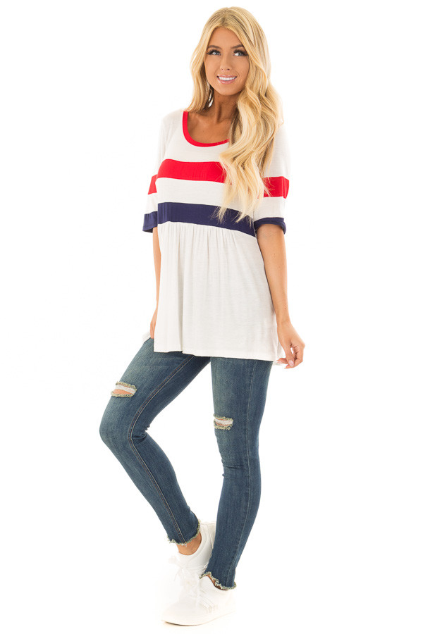 Off White USA Striped Babydoll Tee Shirt front full body