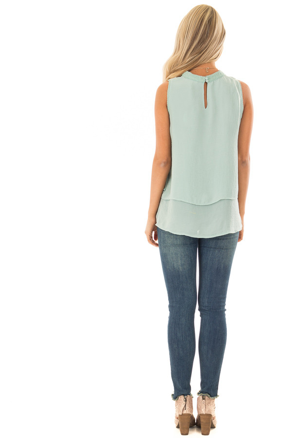 Mint Layered Tank Top with Crocheted Trim Detail back full body