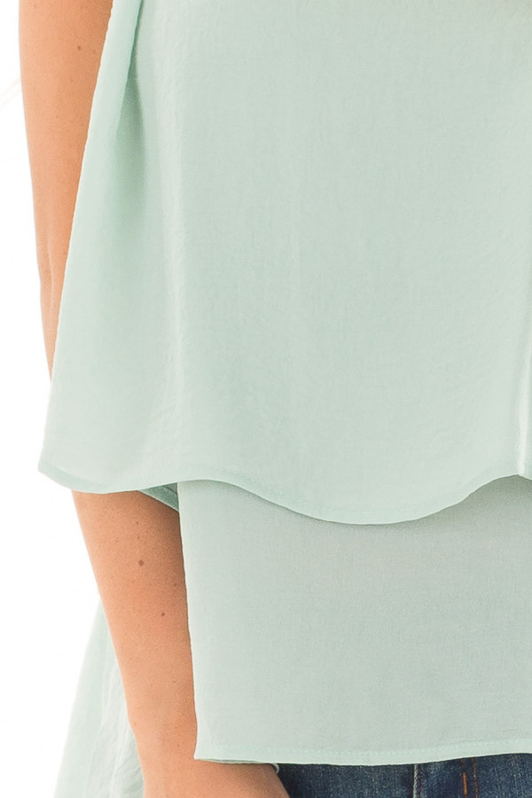 Mint Layered Tank Top with Crocheted Trim Detail detail