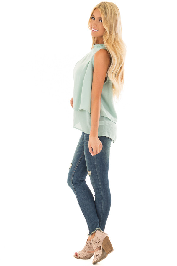 Mint Layered Tank Top with Crocheted Trim Detail side full body