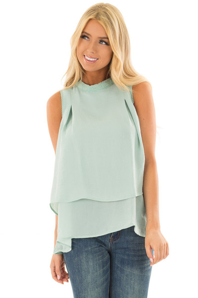 Mint Layered Tank Top with Crocheted Trim Detail front close up
