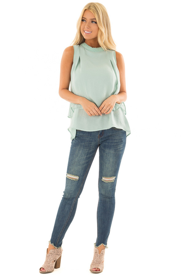 Mint Layered Tank Top with Crocheted Trim Detail front full body