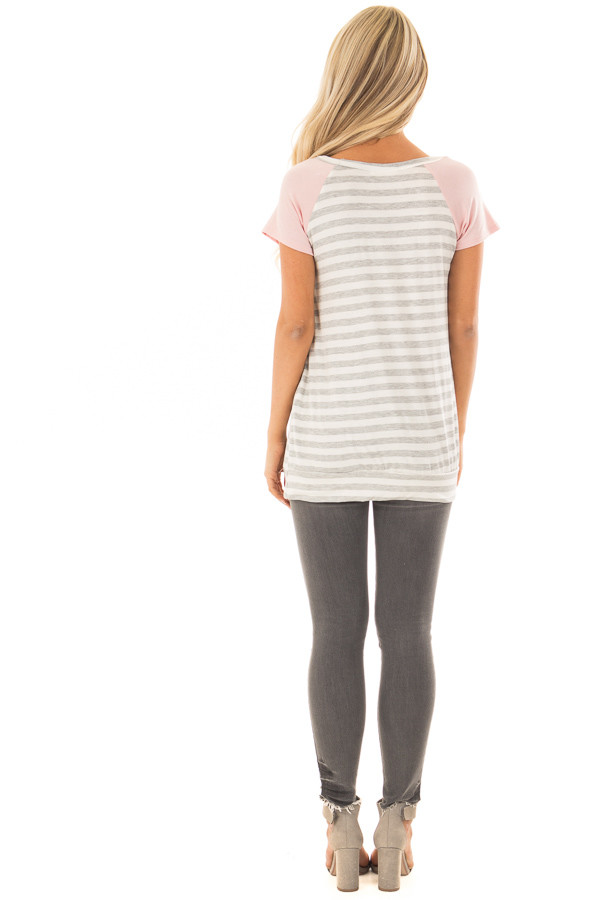 Grey and Ivory Striped Tee Shirt with Blush Contrast back full body