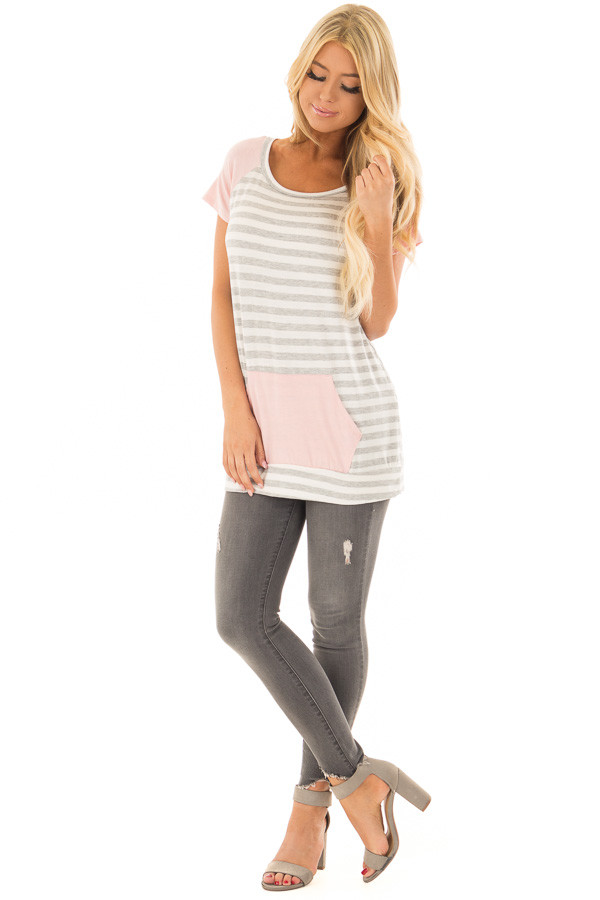 Grey and Ivory Striped Tee Shirt with Blush Contrast front full body