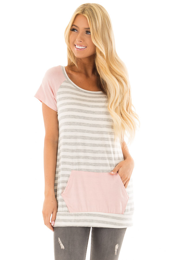 Grey and Ivory Striped Tee Shirt with Blush Contrast front close up