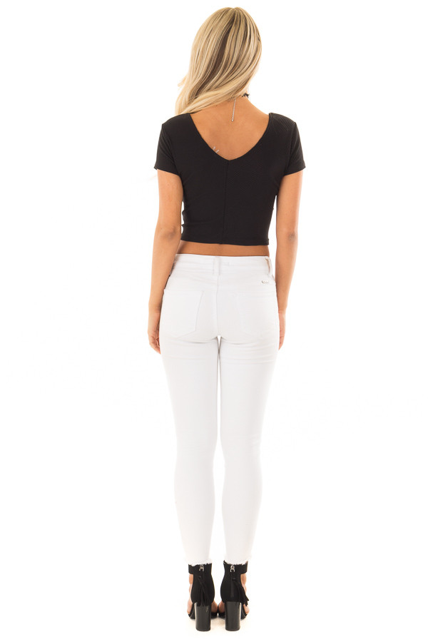 Black Ribbed Knit Crop Top with Cross Layered Front back full body