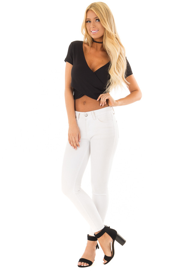 Black Ribbed Knit Crop Top with Cross Layered Front front full body