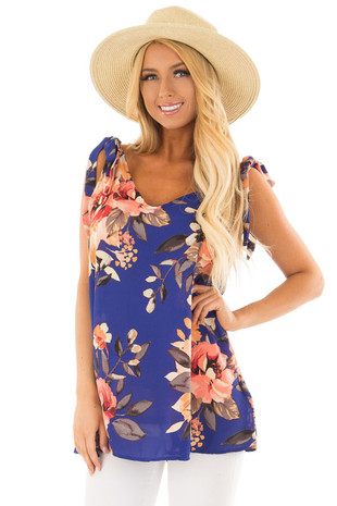Royal Blue Floral Print Tank Top with Tie Straps front close up