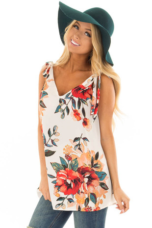 Off White Floral Print Tank Top with Tie Straps front close up