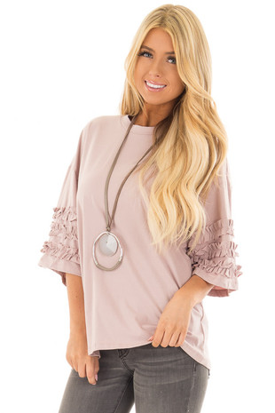 Light Mauve Short Sleeve Top with Ruffle Details front close up