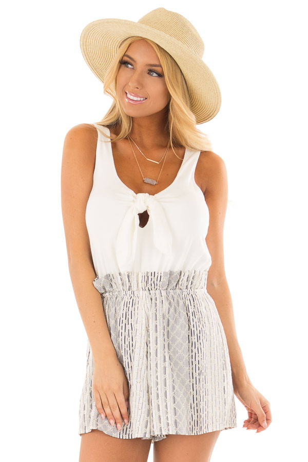 Cream Romper with Navy Patterned Detail and Front Tie front close up