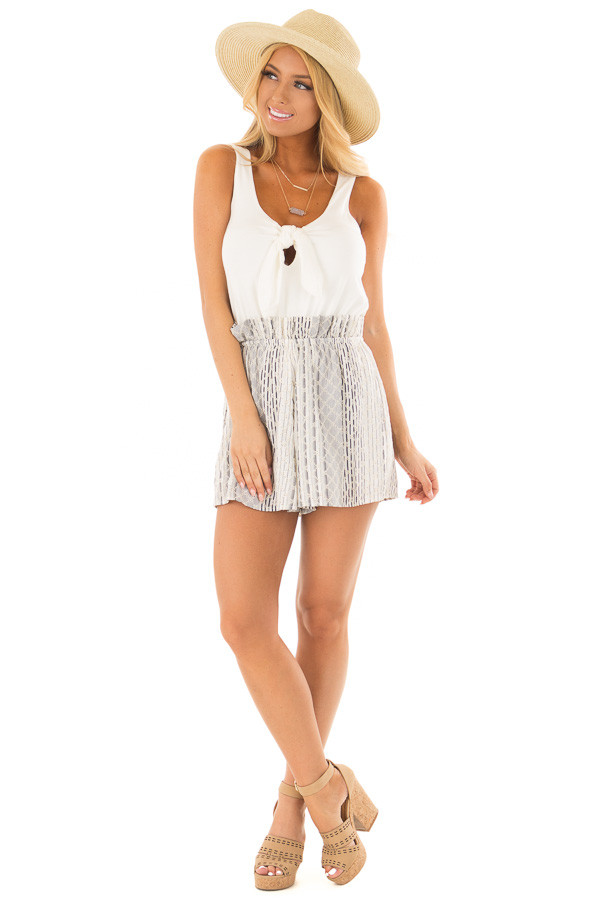 Cream Romper with Navy Patterned Detail and Front Tie front full body