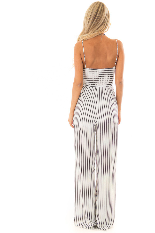 Black and White Striped Jumpsuit with Front Tie and Cut Out back full body