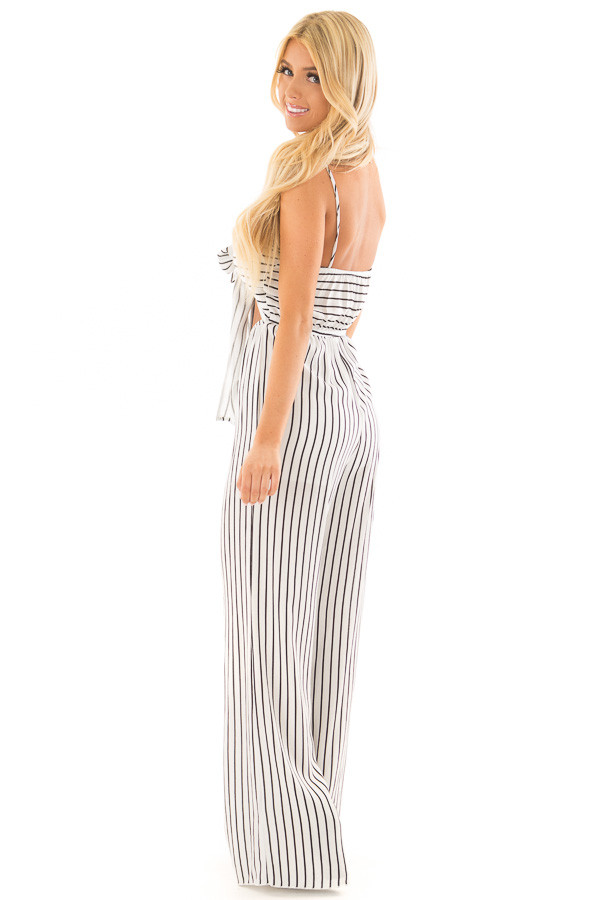 Black and White Striped Jumpsuit with Front Tie and Cut Out side full body