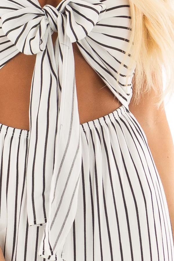 Black and White Striped Jumpsuit with Front Tie and Cut Out detail