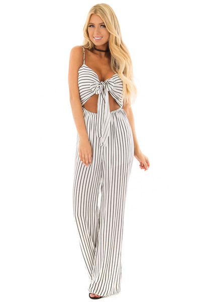 Black and White Striped Jumpsuit with Front Tie and Cut Out front full body