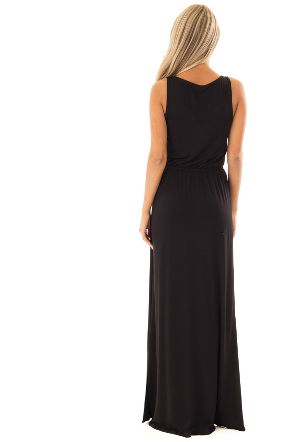 Black Maxi Dress with Criss Cross Neckline and Side Slits back full body