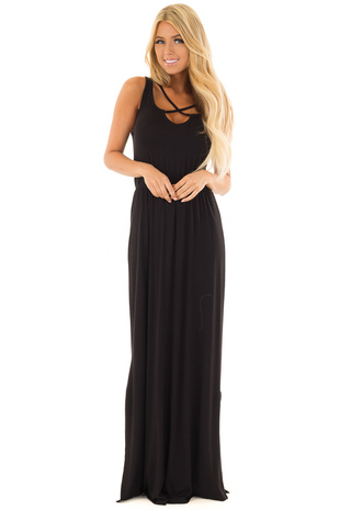Black Maxi Dress with Criss Cross Neckline and Side Slits front full body
