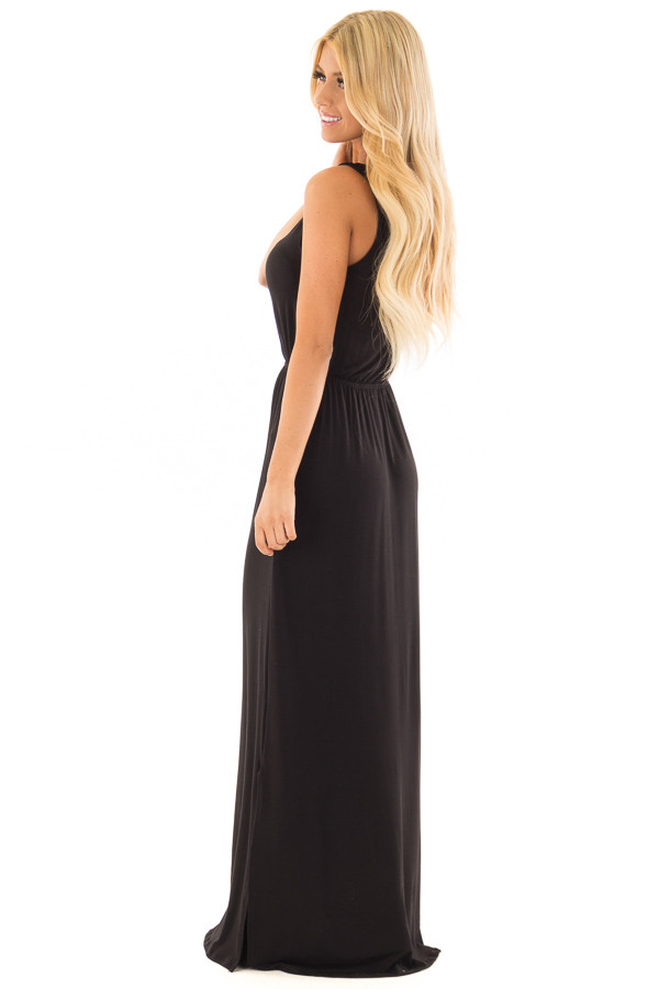 Black Maxi Dress with Criss Cross Neckline and Side Slits side full body