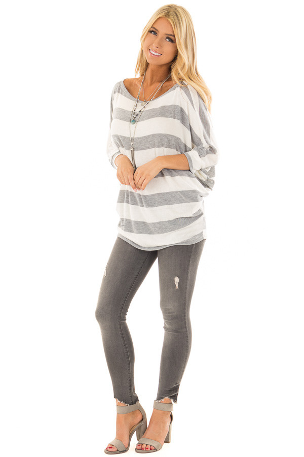 Heather Grey and Ivory Striped One Shoulder Dolman Top front full body