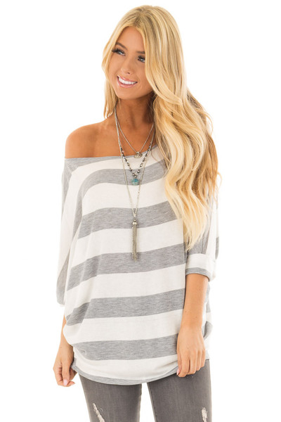 Heather Grey and Ivory Striped One Shoulder Dolman Top front close up