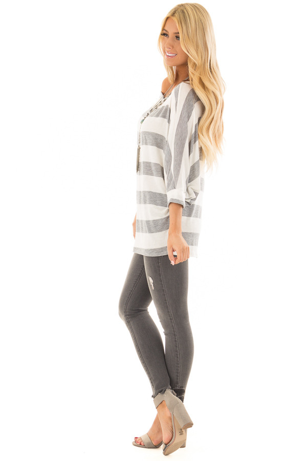 Heather Grey and Ivory Striped One Shoulder Dolman Top side full body