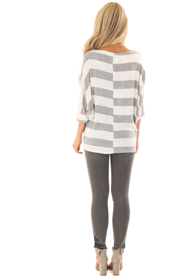 Heather Grey and Ivory Striped One Shoulder Dolman Top back full body