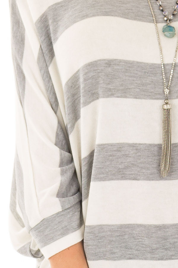 Heather Grey and Ivory Striped One Shoulder Dolman Top detail