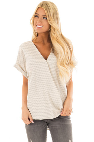 Beige Striped Cross Over Top with Cuffed Sleeves front close up