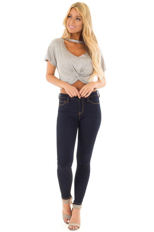 Grey Crop Top with Cut Out V Neckline and Front Twist front full body