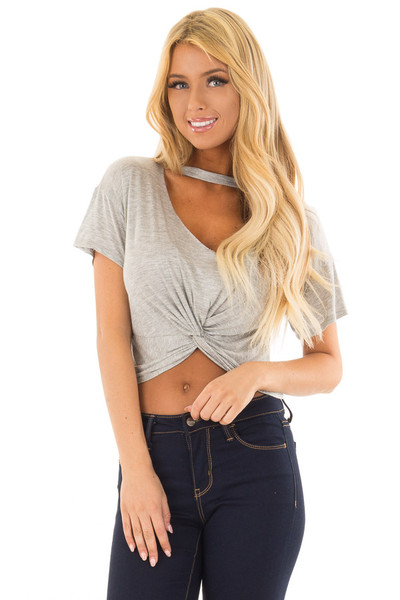 Grey Crop Top with Cut Out V Neckline and Front Twist front close up