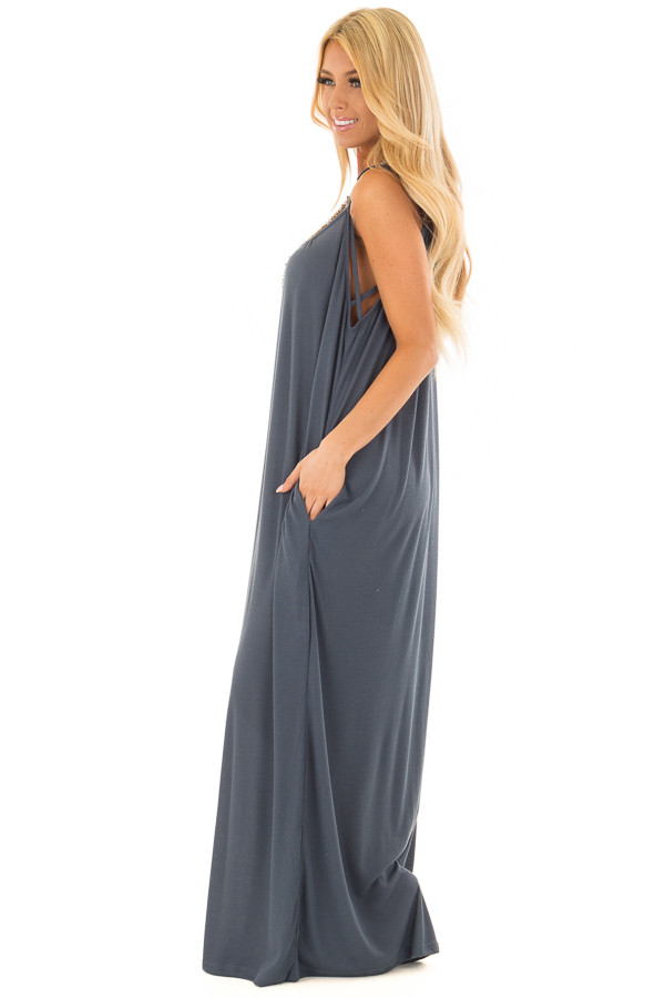 Deep Teal Oversized Comfy Jumpsuit with Side Pockets side full body