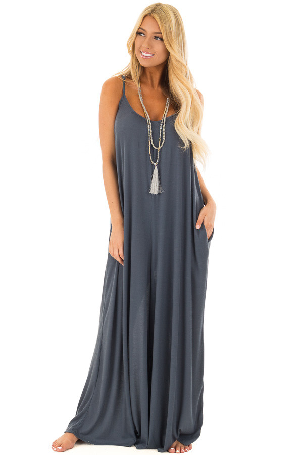 Deep Teal Oversized Comfy Jumpsuit with Side Pockets front full body
