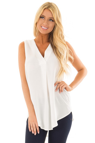 Powder White Chiffon V Neck Sleeveless Blouse front close up