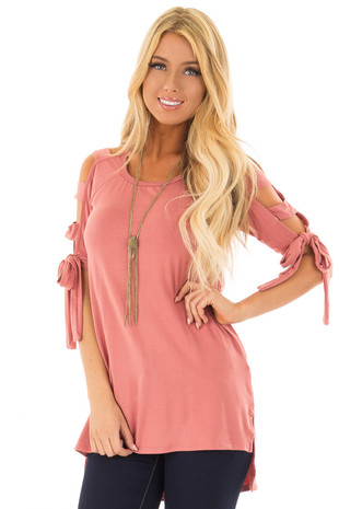Mauve Tied Ladder Cut Out 3/4 Sleeves with Side Slits front close up