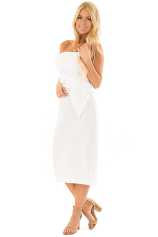 White Sleeveless Dress with Waist Tie Detail front full body