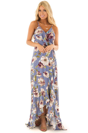 Dusty Blue Floral Print Sleeveless Maxi Dress with Waist Tie front full body