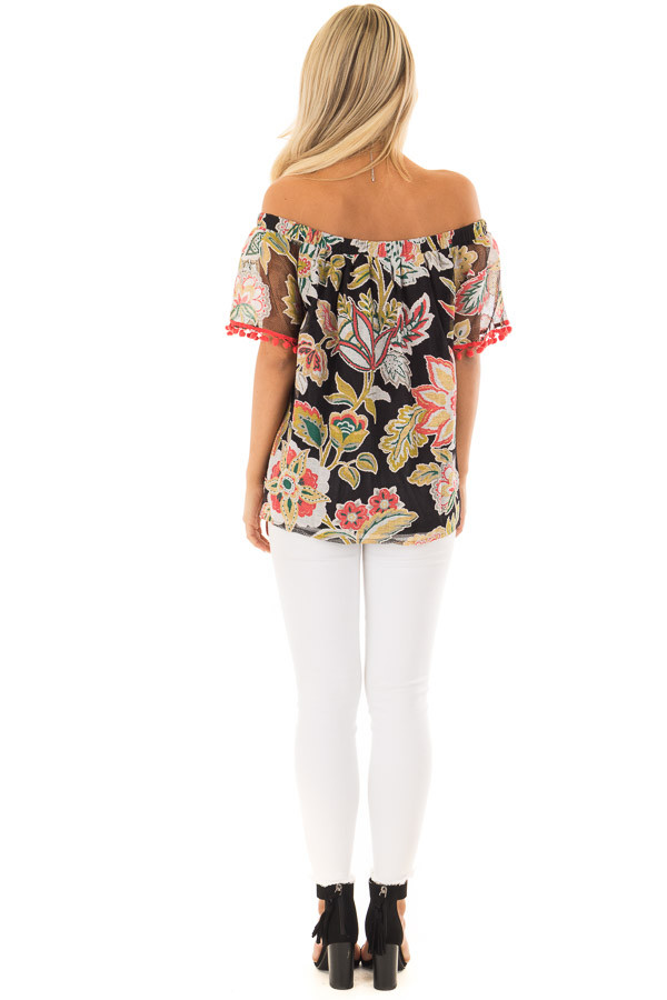 Black Floral Off Shoulder Top with Pom Pom Trim Detail back full body