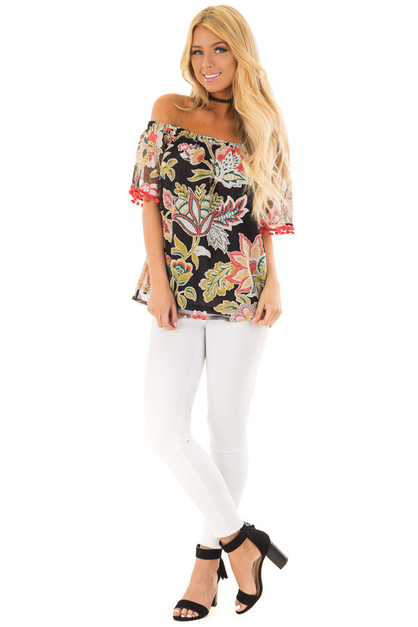 Black Floral Off Shoulder Top with Pom Pom Trim Detail front full body