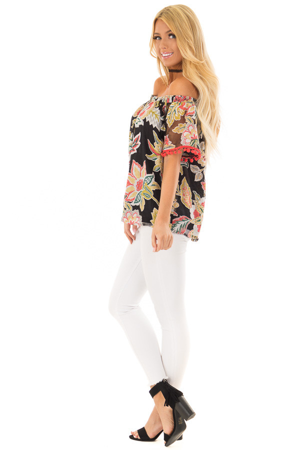 Black Floral Off Shoulder Top with Pom Pom Trim Detail side full body