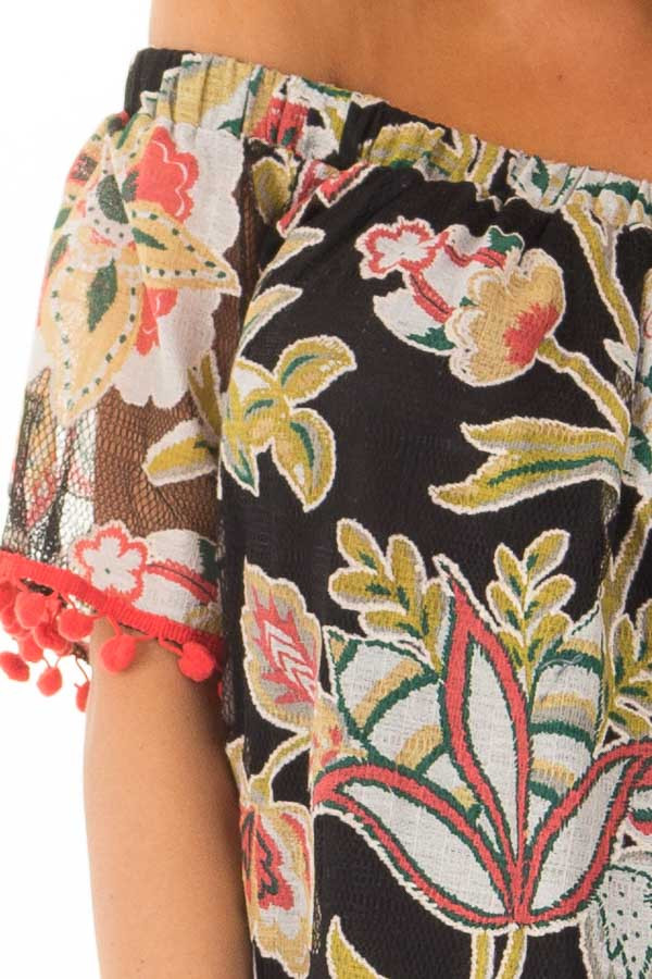Black Floral Off Shoulder Top with Pom Pom Trim Detail detail